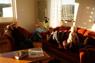 Hanna Hernried Forslind, Mimmi Borselius, Elisabet Ericson och lilla I.